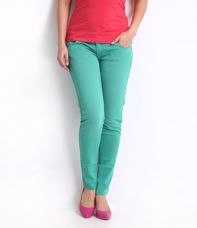 Women's Sea Green Denim Jeans. SA-J4