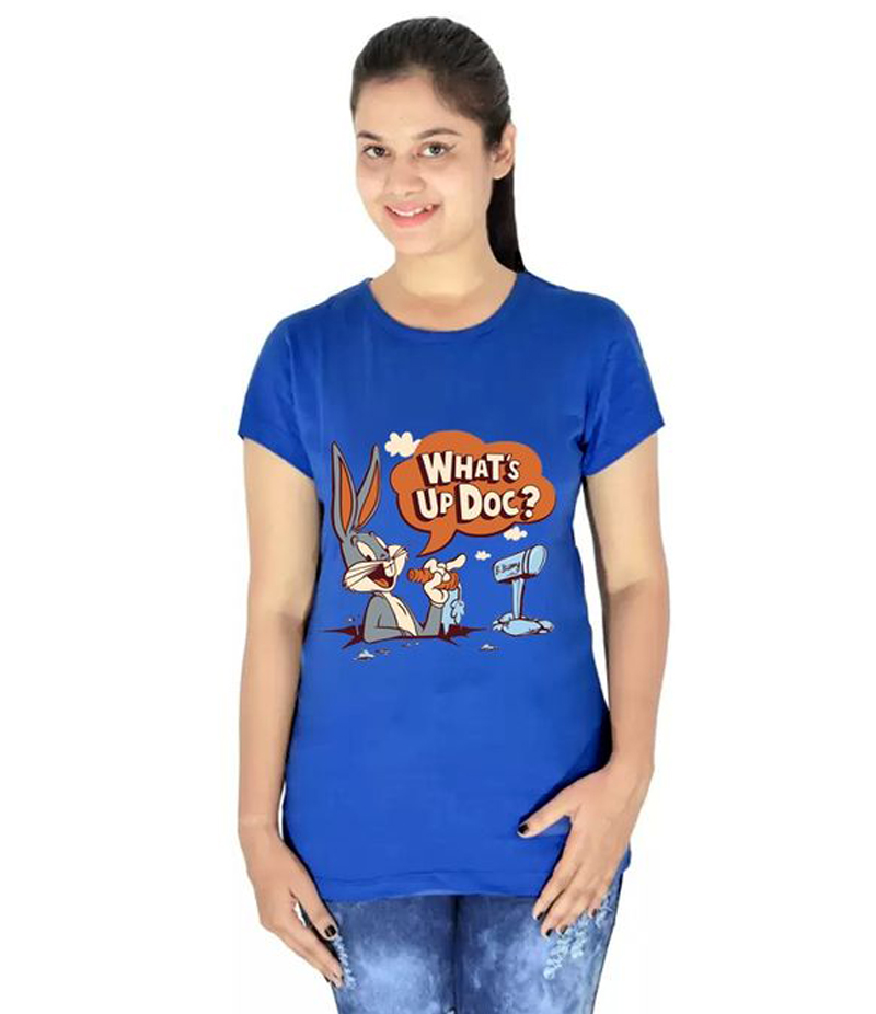 Women's Royal Blue Whats Up Doc Printed T-shirt. WUD-RT