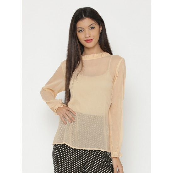 Beige Frilled O Neck Long Sleeve Tunic For Women. SD-625