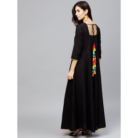 Black Solid Maxi A-Line Dress For Women. SD-647