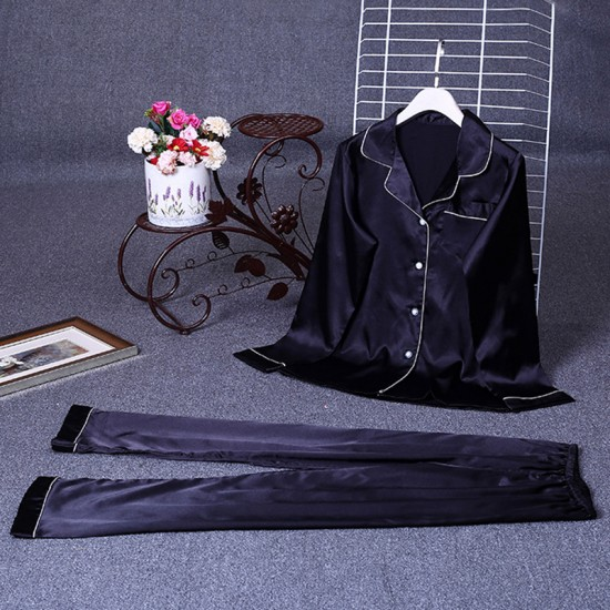 Black Elegant Sexy Shirt Pyjama Set For Women. SD-723