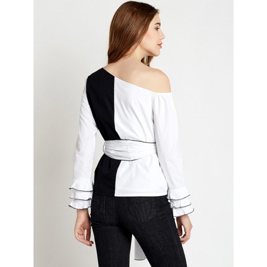 Black And White One-Shoulder Frilled Sleeve Top For Women. SD-817