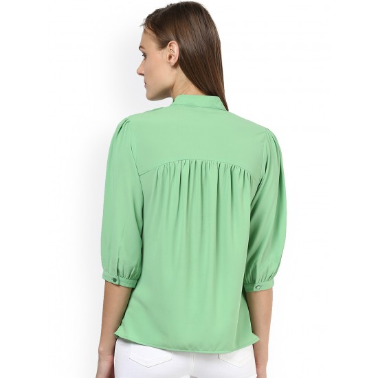 Sea Green Pleated Buttoned Style Neck Rare Top For Women. SD-826