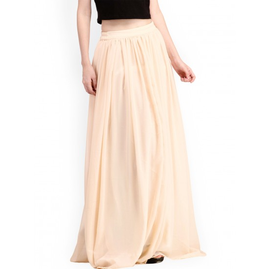 Beige Chiffon Maxi Skirt For Women. SD-849