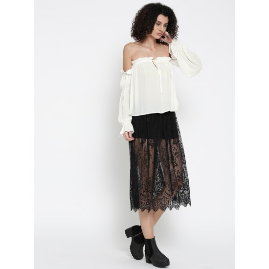 White Bardot Knotted Off Sholder Top For Women. SD-868
