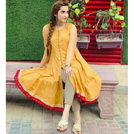 Women's Yellow Front Loops Open Long Frowk Styled Kurti. AN-37