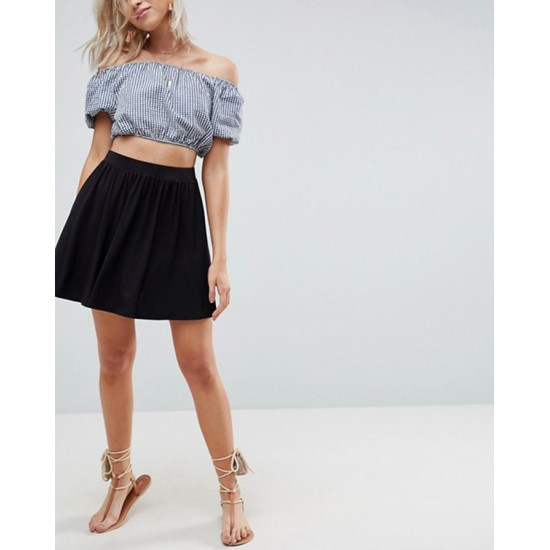 Women's Black Linen Pleated mini Skirt. SK-SC58