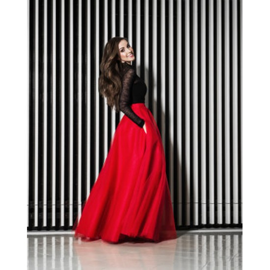 Women's Red Net Pleated Long Skirt. SK-SC77