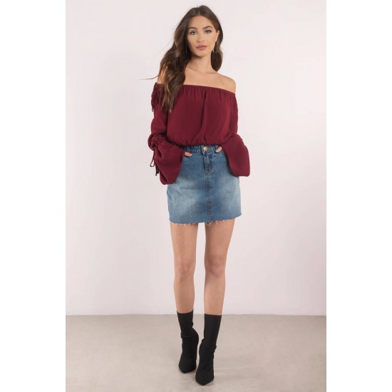 Women's Maroon Knotted Off Shoulder Top RID-247