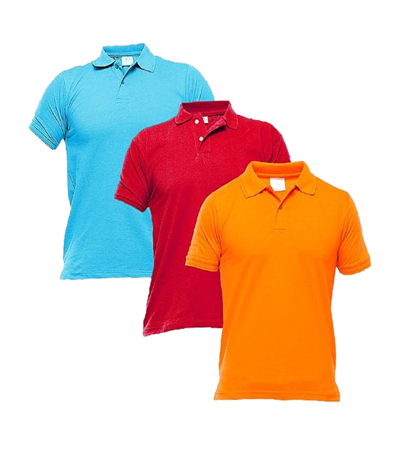 Men's Pack of 3 Multi-color Polo Shirts. TZ-121