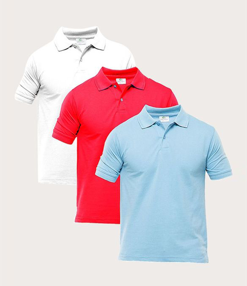 Men's Pack of 3 Multi-color Polo Shirts. TZ-122