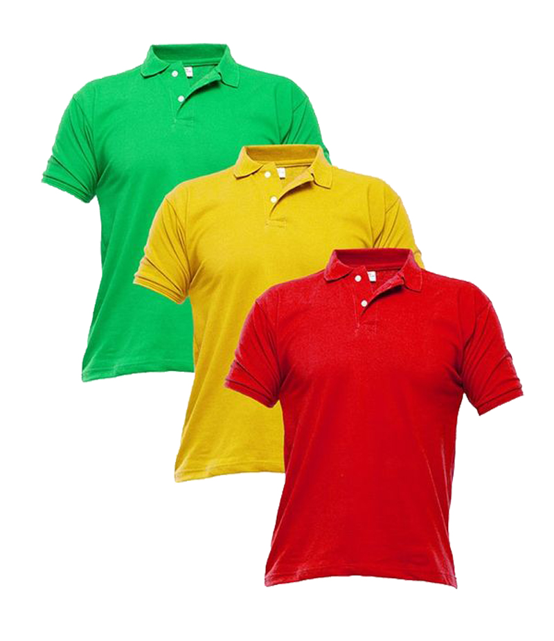Men's Pack of 3 Multi-color Polo Shirts. TZ-125