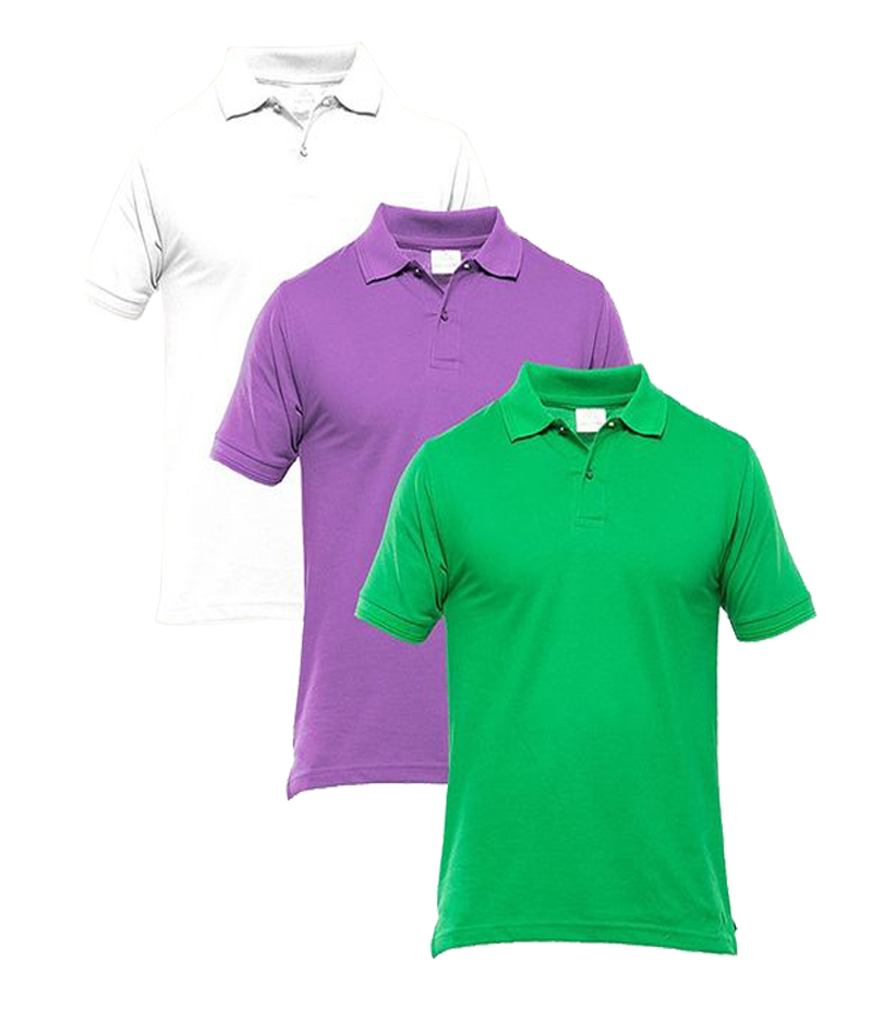 Men's Pack of 3 Multi-color Polo Shirts. TZ-126