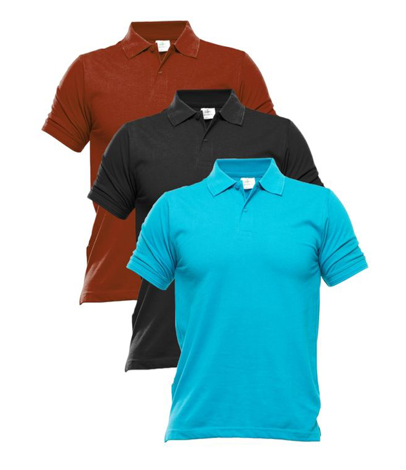 Men's Pack of 3 Multi-color Polo Shirts. TZ-127