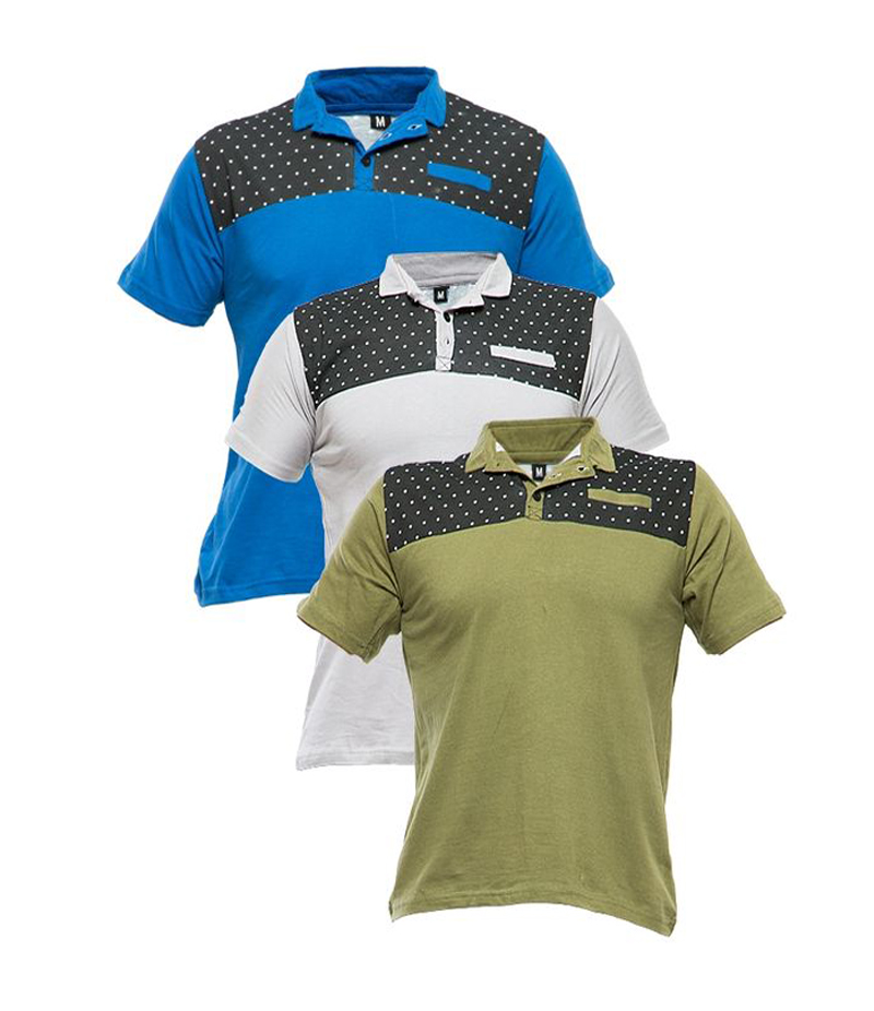 Men's Pack of 3 Multi-color Polo Shirts. TZ-128