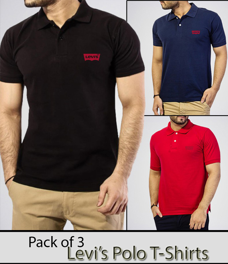 Men's Pack Of 3 Polo Shirts. AJ-L3