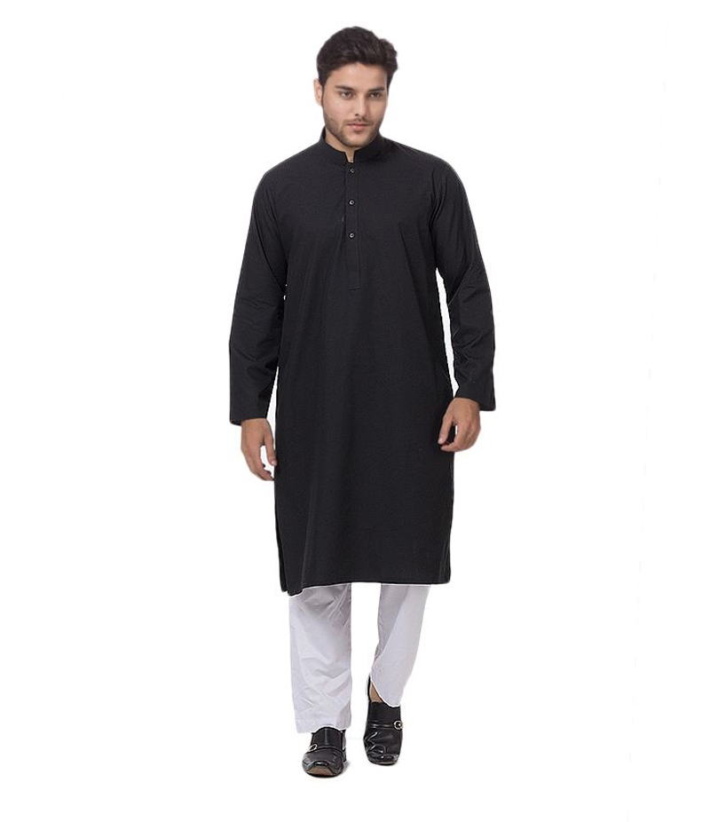 Men's Black Wash and Wear Kurta. BKW-01