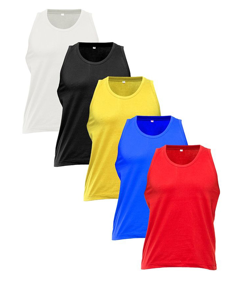 Men's Pack of 5 Solid Cotton Tank Tops. STP-P90