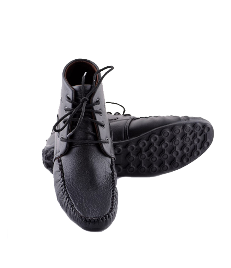 Men's Black Metallic Faux Leather Shoes. SYB-519