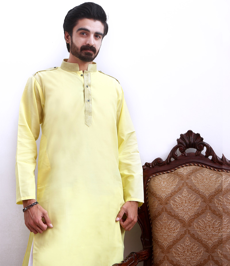 Men's Lemon Cotry Collar Cotton Kurta. TAK-L-091