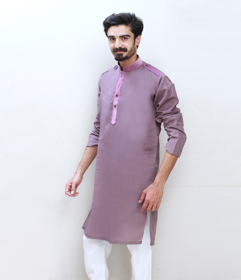 Men's Light Purple Cotry Collar Cotton Kurta. TAK-LP-091