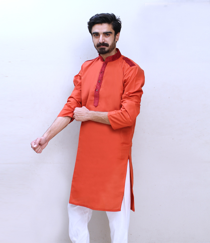 Men's Rust Cotry Collar Cotton Kurta. TAK-R-091