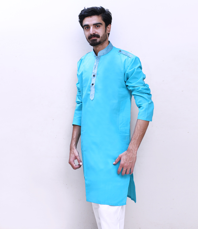Men's Sea Green Cotry Collar Cotton Kurta. TAK-SG-091
