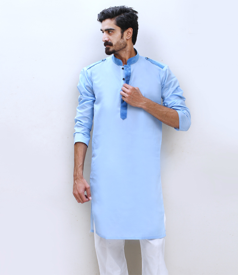 Men's Cotry Collar Cotton Kurta. (7 Colors). TAK-091