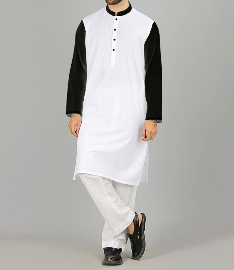 Men's White Cotton Kurta With Black Contrast Sleeve. WCB-04