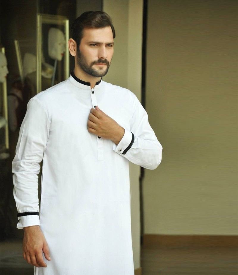 Men's White Cotton Kurta With Black Piping. WCPB-05