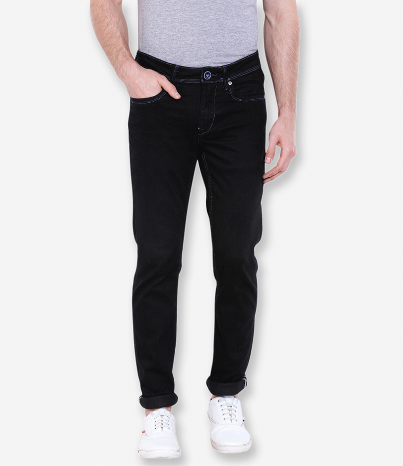 Men's Black With White Stitching Denim Jeans. WOT-123
