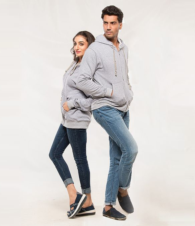 Pack of 2 Heather Grey Fleece Hoodies for Him and Her. AJM-H250