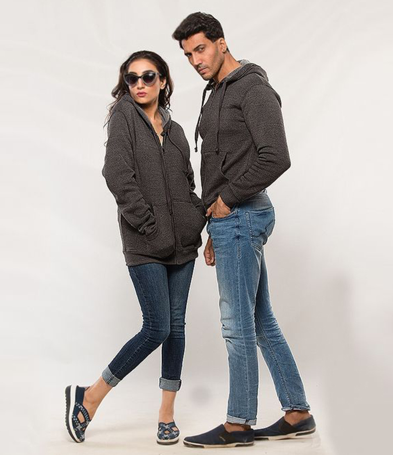 Pack of 2 Charcoal Grey Fleece Hoodies for Him and Her. AJM-H251