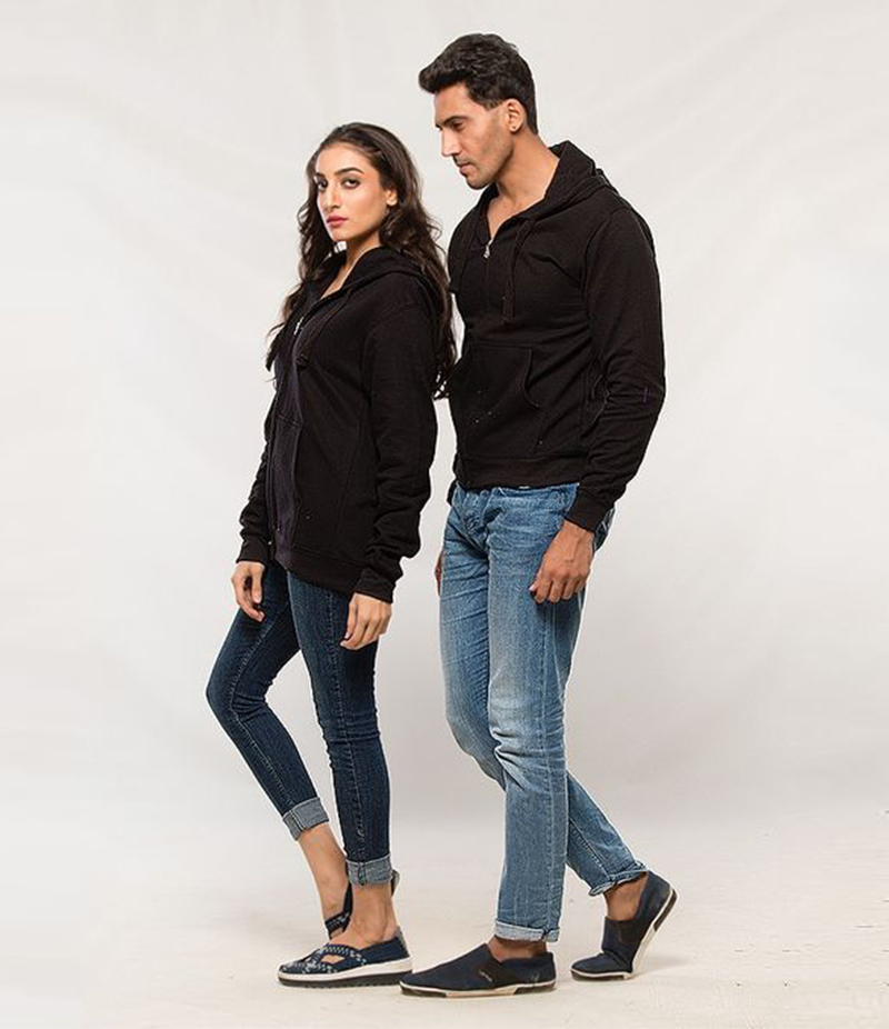 Pack of 2 Black Fleece Hoodies for Him and Her. AJM-H252