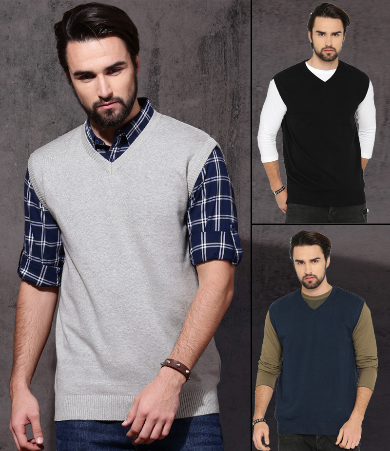 Men's Pack of 3 Ribbed Sleeveless Sweaters. SWT-5