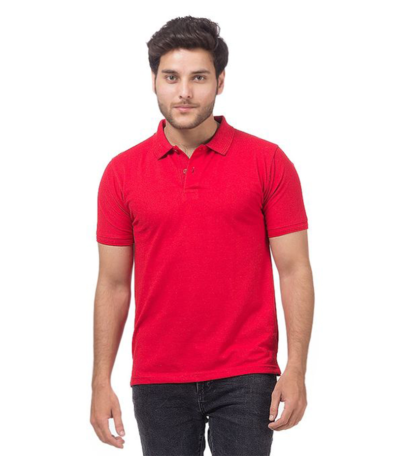 Men's Red Poly-Cotton Polo T-shirt. XH-907