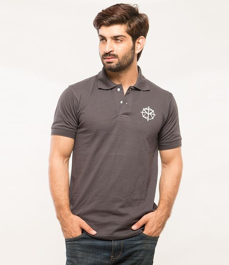 Men's Dark Grey Poly-Cotton Seth Rollins Logo Printed Polo T-shirt. XH-910