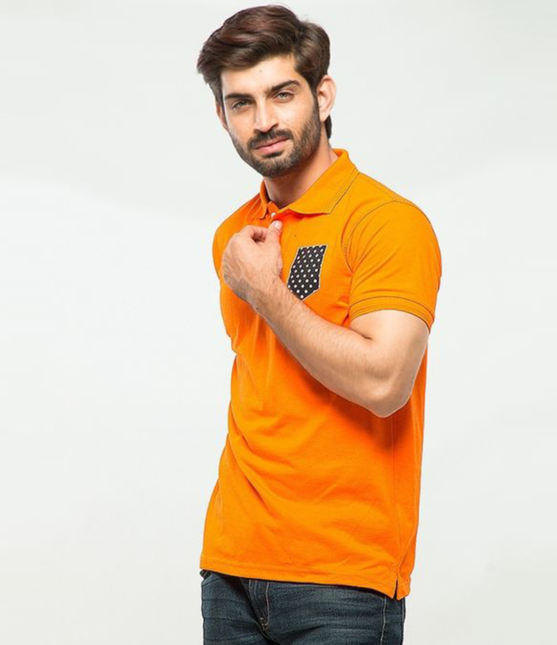 Men's Orange Poly-Cotton Pocket Logo Printed Polo T-shirt. XH-911