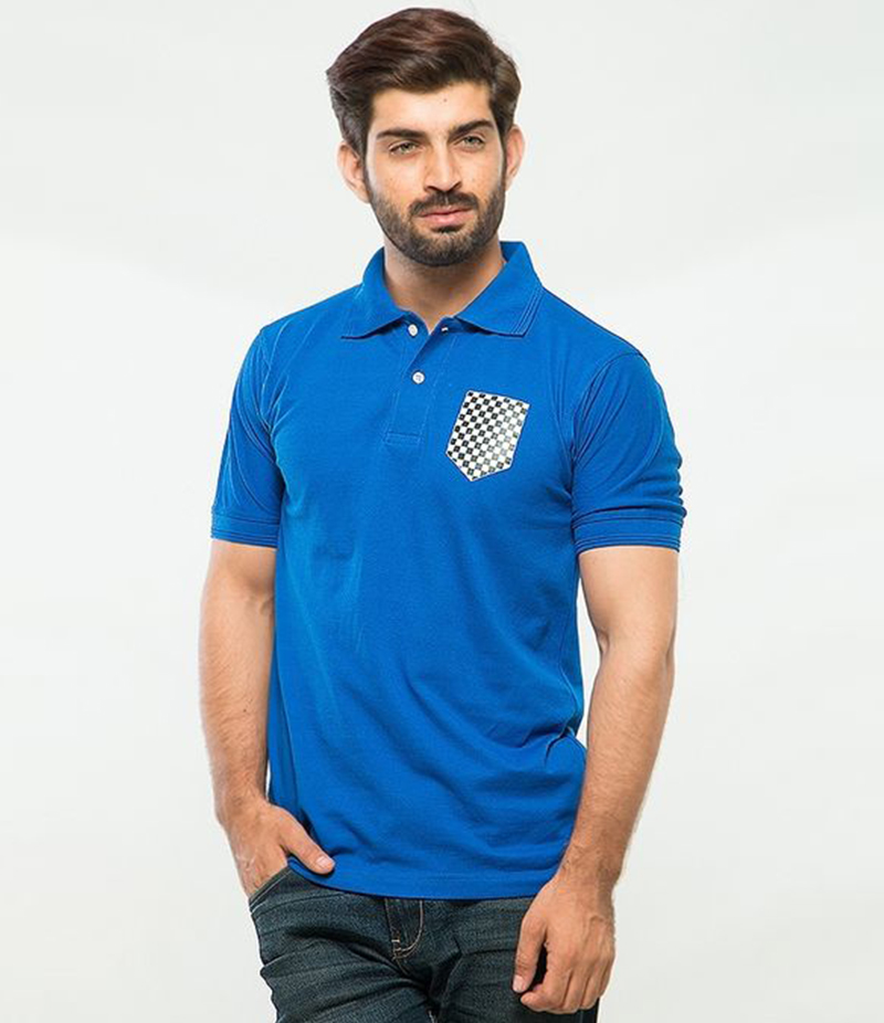 Men's Royal Blue Poly-Cotton Pocket Logo Printed Polo T-shirt. XH-912