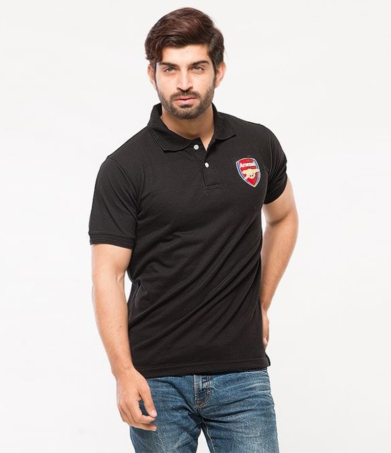 Men's Black Poly-Cotton Arsenal Logo Printed Polo T-shirt. XH-913