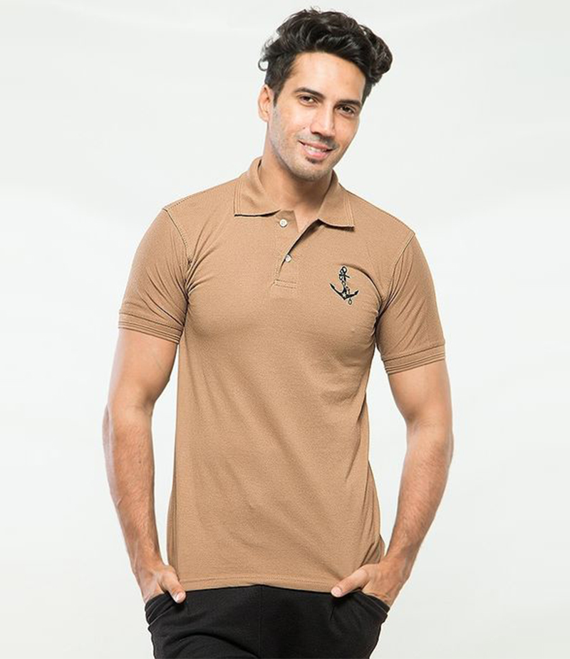 Men's Light Brown Poly-Cotton Anchor Logo Printed Polo T-shirt. XH-914
