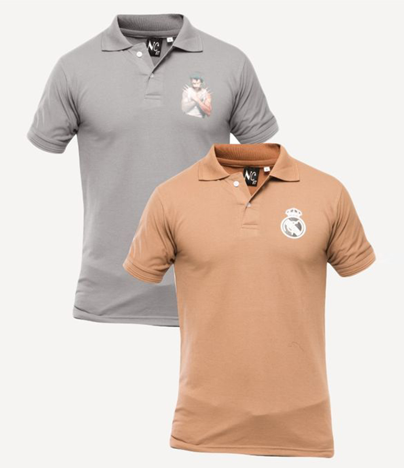 Men's Pack of 2 Poly-Cotton Logo Printed Polo T-shirts. XH-915
