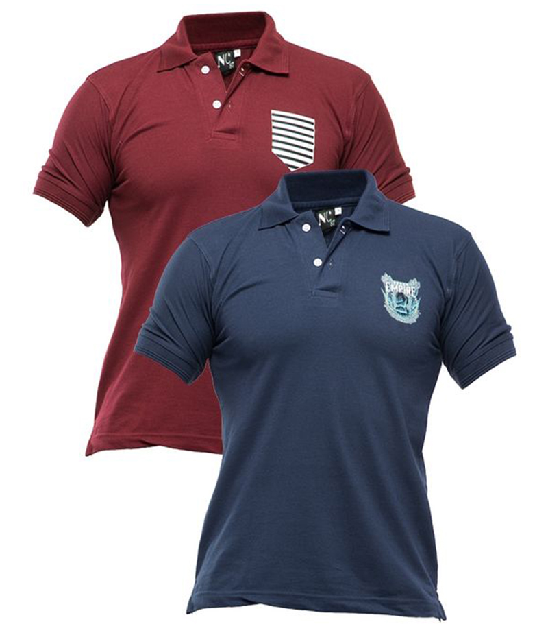 Men's Pack of 2 Poly-Cotton Logo Printed Polo T-shirts. XH-916