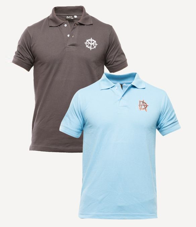 Men's Pack of 2 Poly-Cotton Logo Printed Polo T-shirts. XH-917
