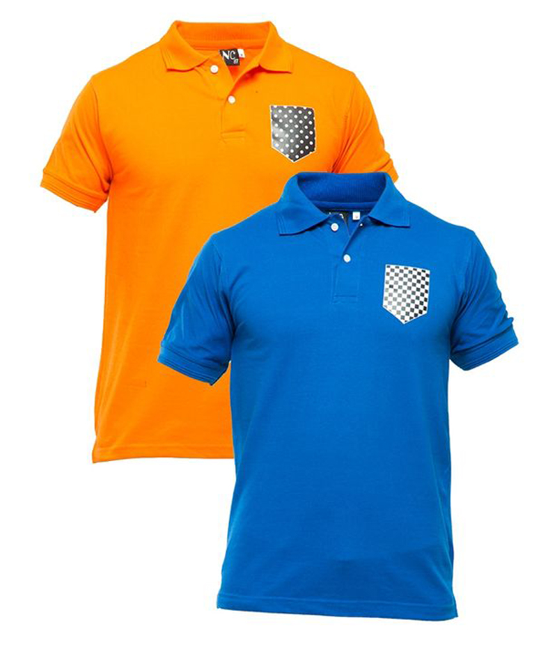 Men's Pack of 2 Poly-Cotton Logo Printed Polo T-shirts. XH-918