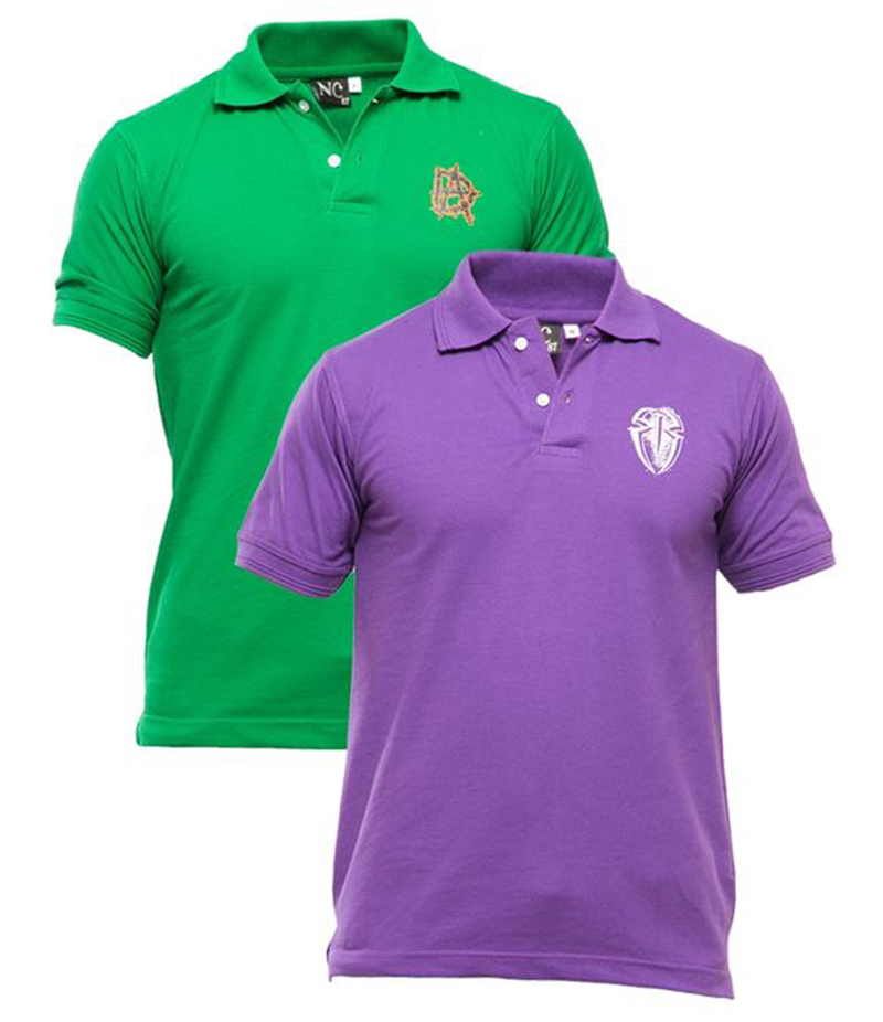 Men's Pack of 2 Poly-Cotton Logo Printed Polo T-shirts. XH-920