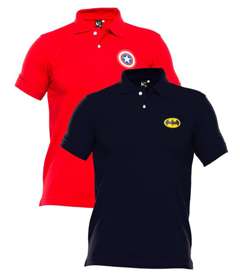 Men's Pack of 2 Poly-Cotton Logo Printed Polo T-shirts. XH-921