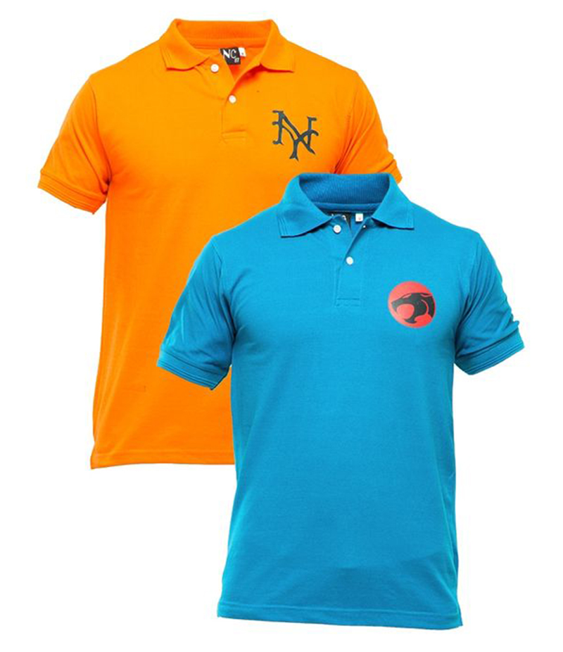 Men's Pack of 2 Poly-Cotton Logo Printed Polo T-shirts. XH-923