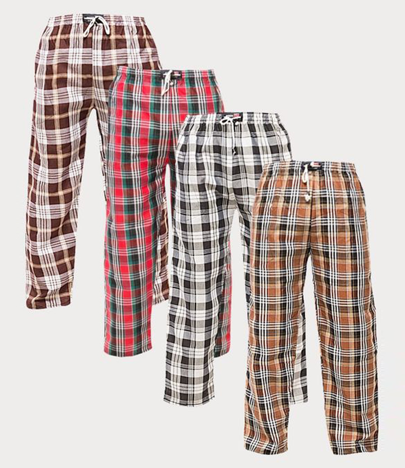 Men's Pack of 4 Cargo Checkered Trousers. XH-929