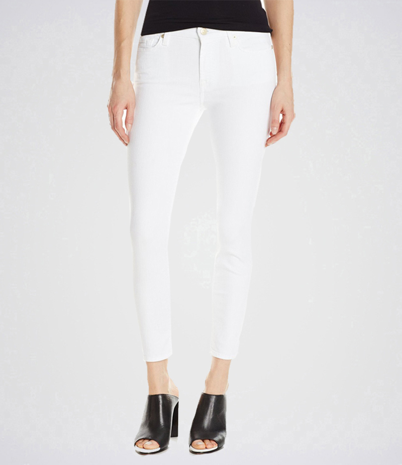 Women's White Cropped Skinny Jeans. AJ-WM17